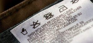 Etiqueta de composição e instrução de lavagem de tecidos